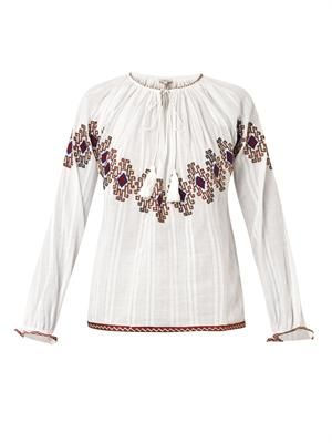 Isha embroidered cotton blouse