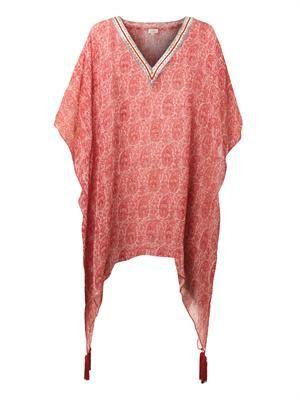 Paisley-print silk kaftan