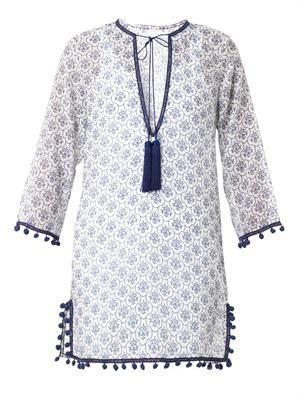 Kanisha-print cotton silk-blend kaftan