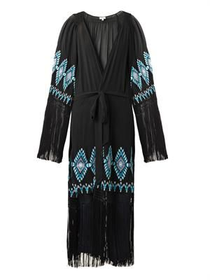 Myra embroidered silk kaftan