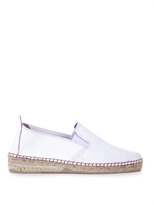 Cracked-leather espadrilles