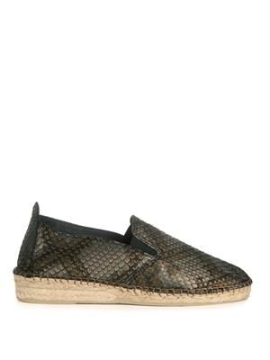 Metallic embossed leather espadrilles