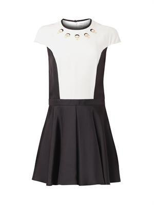 Bi-colour faces-print dress