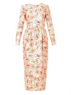 Roses-print crepe dress