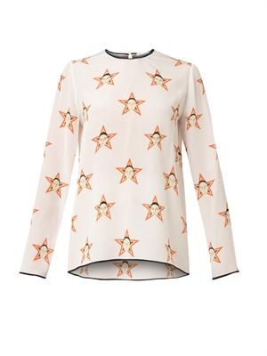Faces and stars-print silk top