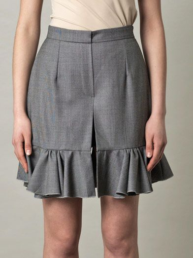 J.W. Anderson Birds eye wool ruffle shorts