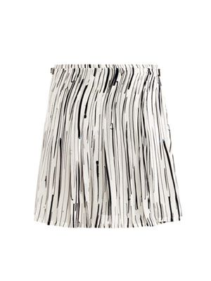 Stripe silk kilt skirt