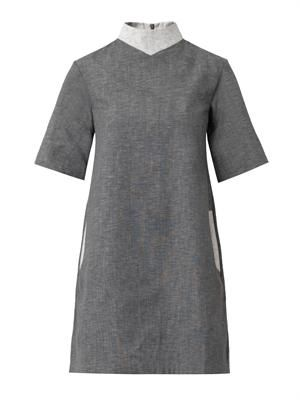 High-neck chambray shift dress