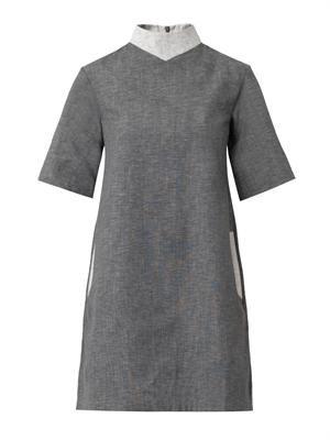 High-neck chambray shift dress