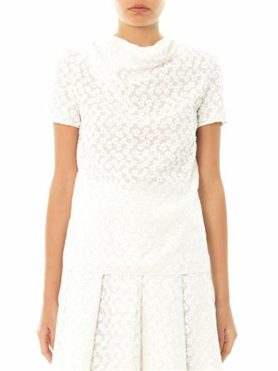 J.W. Anderson Embroidered drape-neck blouse