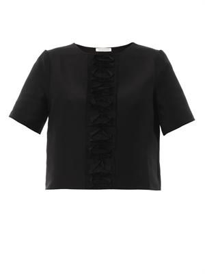 Ruffle-panel blouse