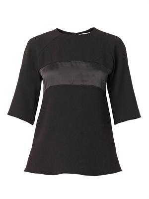 Satin-panel crepe blouse