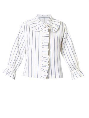 French-ruffle cotton shirt