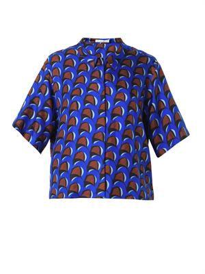 Wave-print silk shirt