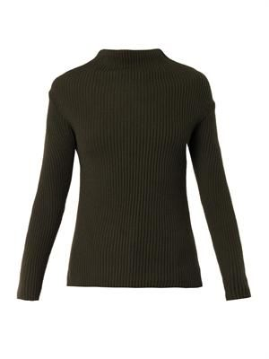 Folded crew-neck ribbed-knit sweater