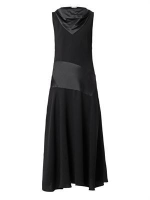 Bias-cut satin and crepe dress