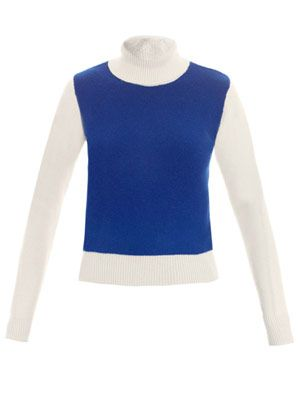 Colour block roll-neck sweater
