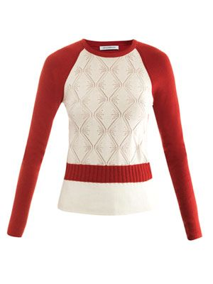 Pointelle patchwork raglan sweater
