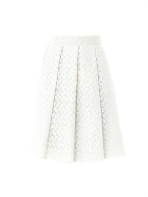 Floral embroidered ten-pleat skirt