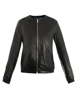 Reversible collarless leather jacket