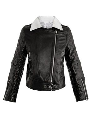 Contrast-collar leather biker jacket