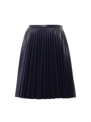 Fully pleated faux-leather skirt