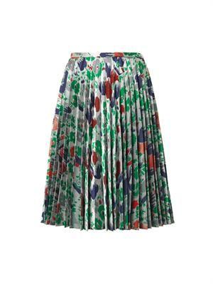 Pleated jacquard-twill skirt