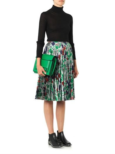 J.W. Anderson Pleated jacquard-twill skirt