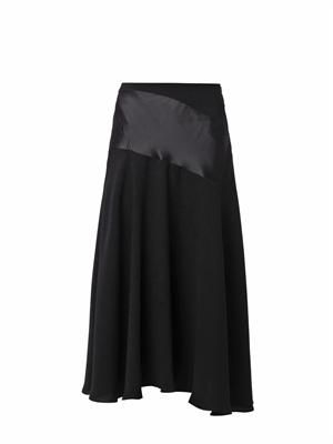 Satin and crepe midi skirt