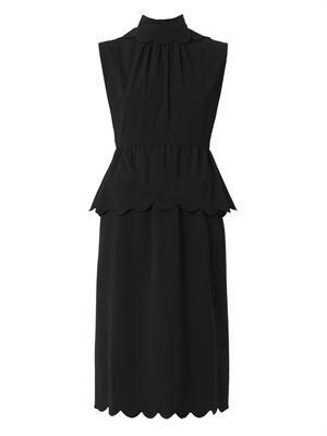 Scallop-detail crepe dress