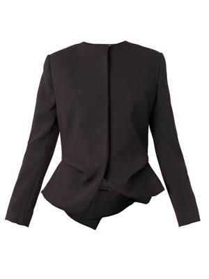 Collarless peplum-pleat jacket