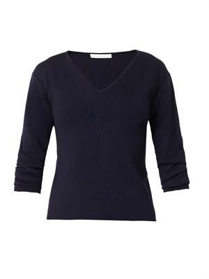 Gathered-sleeve V-neck sweater