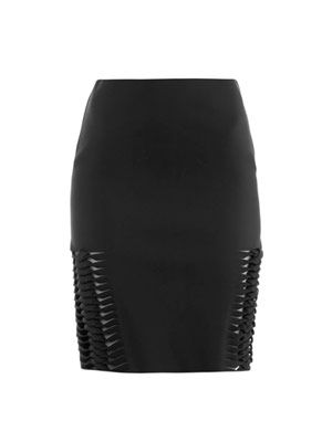 Neoprene plaited-front skirt