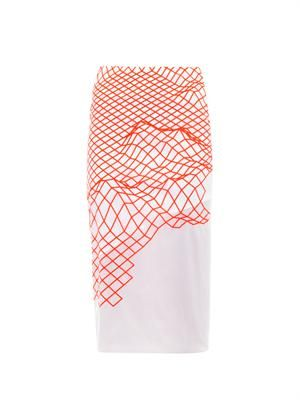 Cycle fluro grid-print pencil skirt