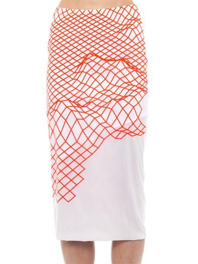 Dion Lee Cycle fluoro grid-print pencil skirt