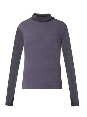 Roll-neck sheer-knit sweater
