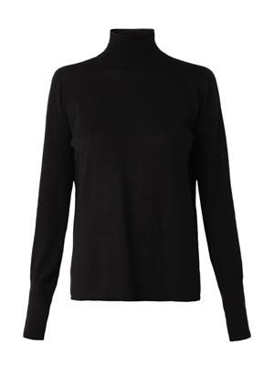 Open-back merino-wool sweater