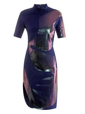 Thermal linear-print dress