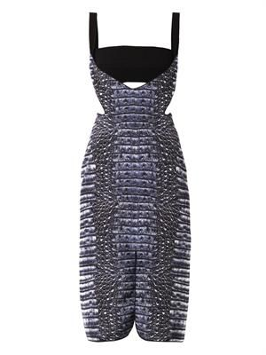 Cut-away croc-print dress