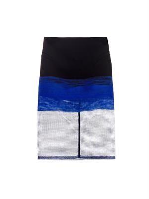 Bi-colour wool and mesh pencil skirt