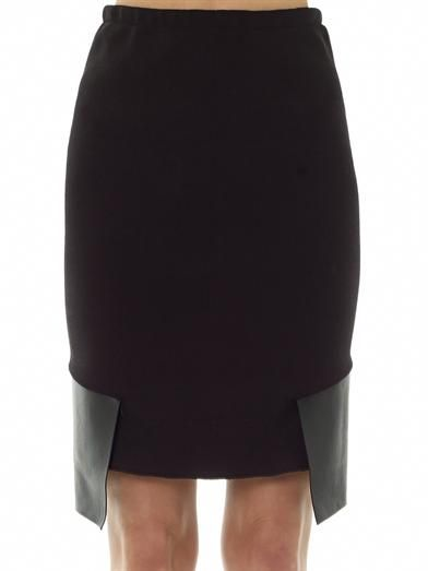 Dion Lee Leather panel knitted pencil skirt