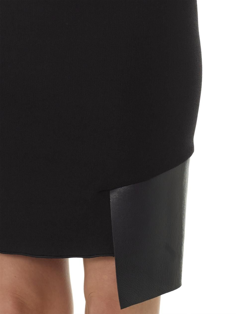 leather panel knitted pencil skirt dion