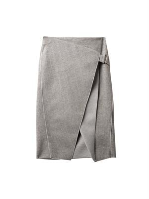 Envelope-fold striped skirt
