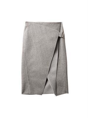 Envelope-fold striped skirt