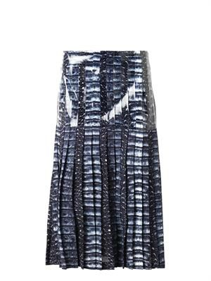 Croc-print pleated skirt