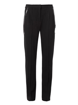 Zip-pocket crepe trousers