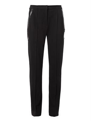 Zip-pocket crepe trousers
