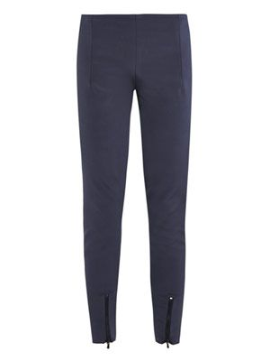Fitted silk tailored trousers