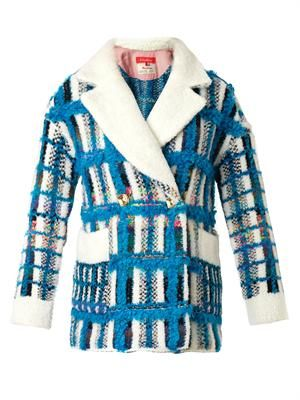 Powered check knitted tweed coat