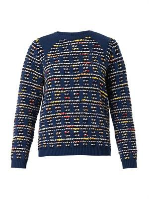 Tartan-check knitted tweed sweater